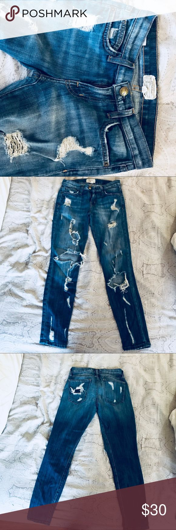 Current/Elliott The Stiletto Jodie Shredded jeans A true eighties skinny that hugs every curve, cropped at the ankle. Show it off with your favorite heels or shoes!   98% Cotton 2% Elastane Current/Elliott Jeans Ankle & Cropped