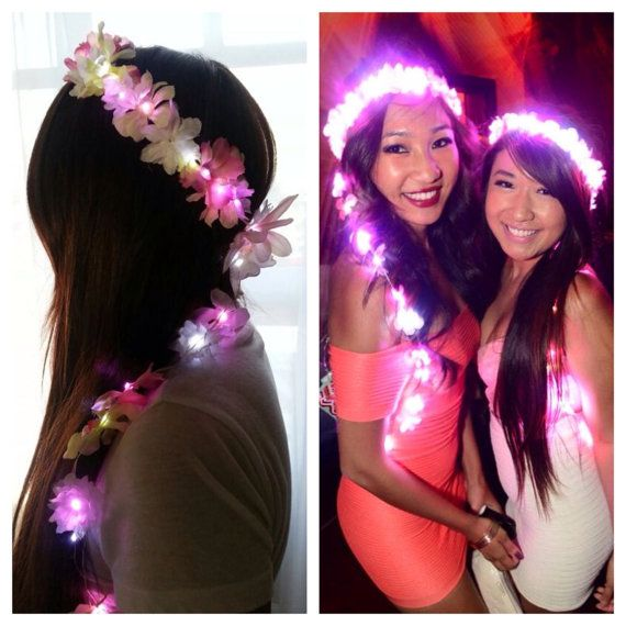 LED light up flower daisy chain crown, so beautiful & perfect for EDC. I shall make my own for Electric Daisy Carnival with our LED headbands for festivals:  https://www.flashingblinkylights.com/light-up-products/led-sunglasses-hats/light-up-headbands.html