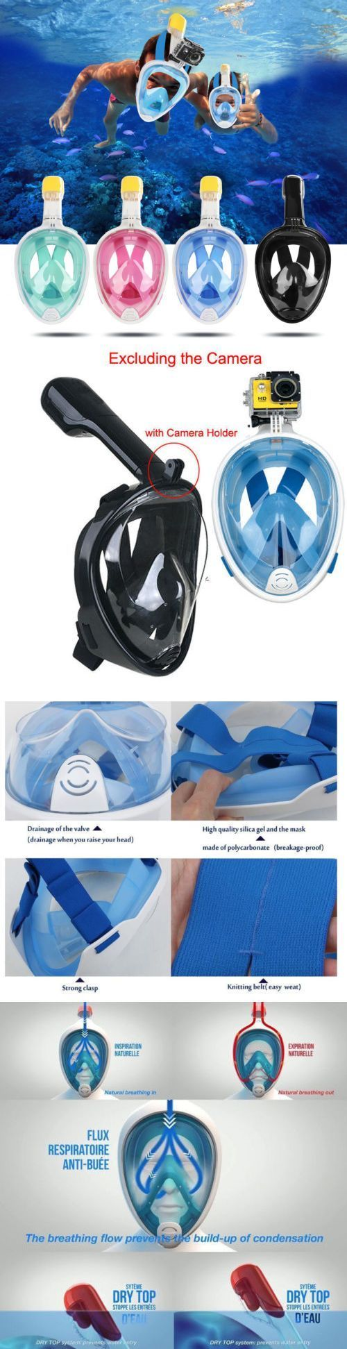 Masks 71161: Full Face Scuba Diving Mask Snorkel Swimming Goggles Breathing Underwater Tools -> BUY IT NOW ONLY: $49.99 on eBay! #scubadivingequipmentwatches