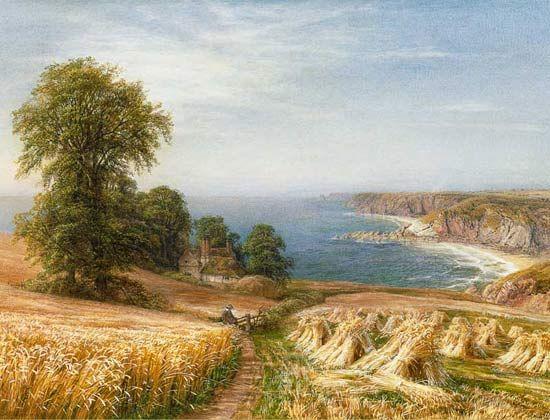 Harvest Time By The Sea (détail) de Edmund George Warren (1834-1909, United Kingdom)