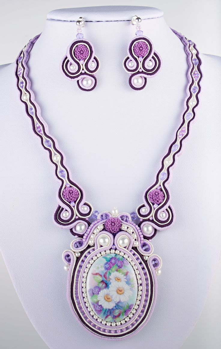 Porcelain Cameo Soutache Necklace and Earrings