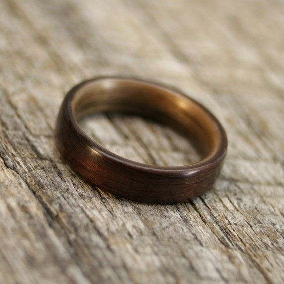 Love the idea of wood wedding bands but not very work-friendly for a guy (or at least a butcher) I'd imagine.