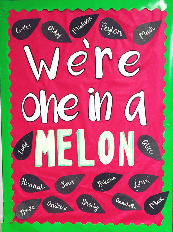 We're One in a Melon bulletin board, preschool, prek, summer, watermelon puns