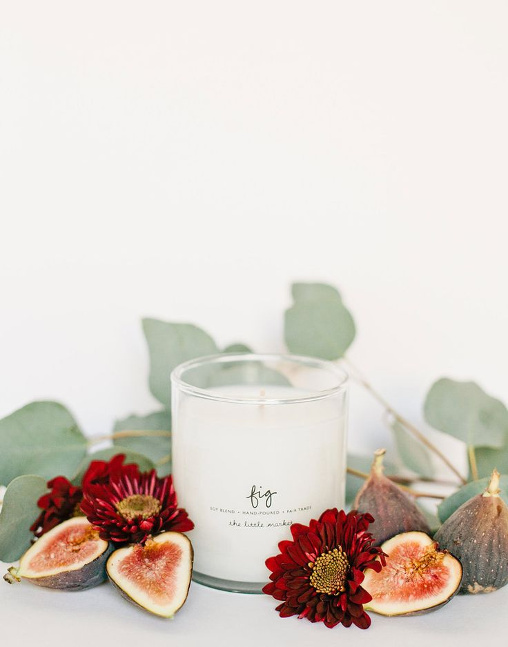 """Figs have such a short season. Enjoy the scent of a fig tree year-round with this candle. Every sale supports female refugees at Prosperity Candle in Massachusetts. * Approximately 9 ounces * 3.5 """"tal"""