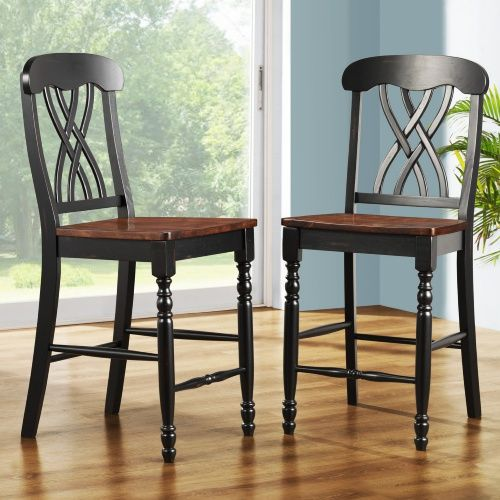 ohana counter height chair black oak set of 2 dining chairs at