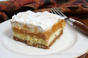 Cream Cheese Pumpkin Torte Recipe from RecipeTips.com.. My Families Favorite Pie at Thanksgiving. So looking forward to this :)