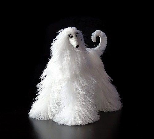 миниатюрные собаки, милые плюшевые игрушки, афганская борзая, снег белый фигурка собаки,
