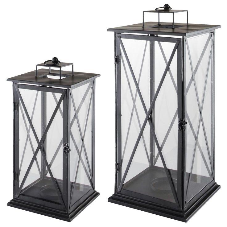 2 lanternes en métal H 57 cm et H 68 cm COMES