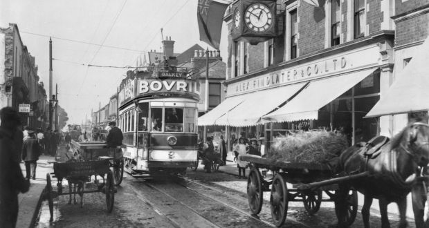 An electric tram in Dún Laoghaire circa 1906. Around the time of the Rising, the trams in Dublin operated on lines that ran 95.6km – 60km more than we have now. Photograph: Past Pix/SSPL/Getty Images