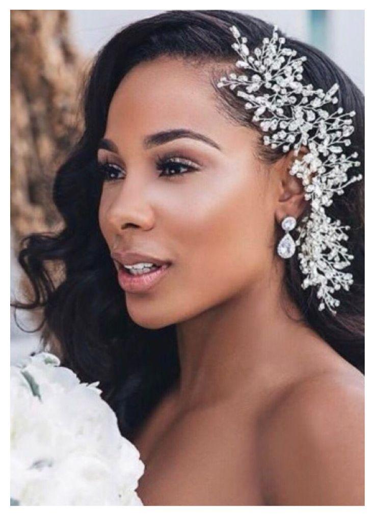 Bridal Hair Down, Bridal Hair Updo, Bridal Hair Flowers, Bridal Hair And Makeup, Black Bridal Makeup, Black Brides Hairstyles, Wedding Hairstyles With Veil, Bride Hairstyles, African Wedding Hairstyles