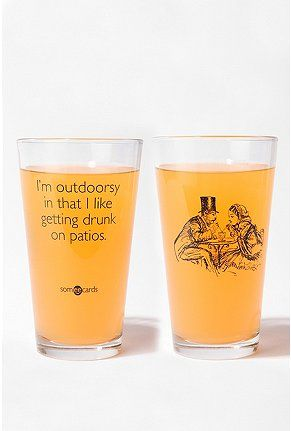 Urban Outfitters - I'm Outdoorsy Pint Glass Just found The perfect Christmas