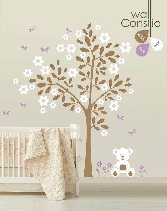 Baby Nursery Tree Wall Decal Wall Sticker - Teddy Bear Tree Wall Decal - Tree Decals - Large: approx 88 x 82 - K004 via Etsy