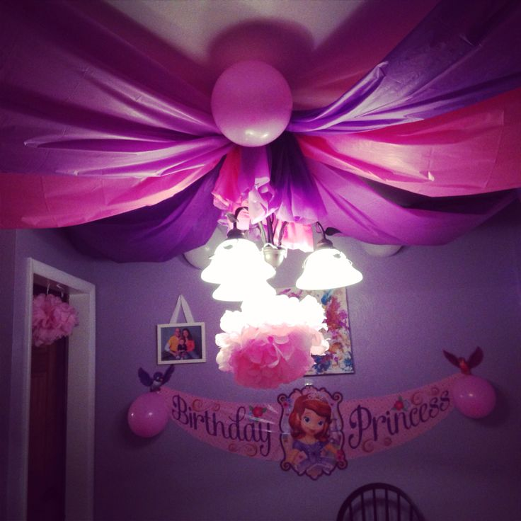 Sofia the first, ceiling, party DIY - use plastic table cloths