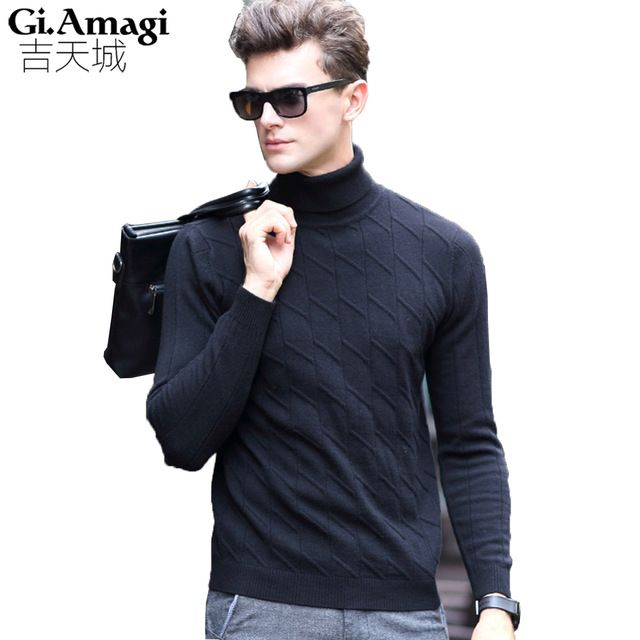 Cheapest Price $42.39, Buy 100% Wool 2017 Autumn Winter New Men Sweater Jacquard Bottoming Sweaters High Collar Men's Pullover Sweaters Sueters Hombre