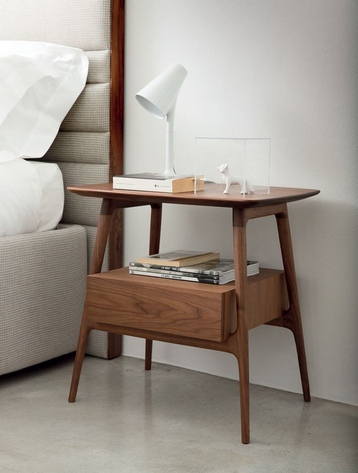 Minimalistic wooden bedroom side table. Discover more: coffeeandsidetables.com | #bedroomsidetable #woodensidetable #modernsidetable