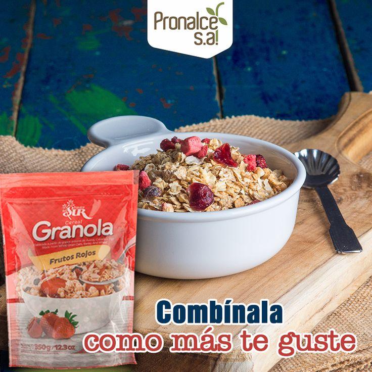 A cualquier hora del día, tu #Granola #Pronalce de #FrutosRojos está lista para que la combines con lo que más te guste.#Pronalce #DelSur #Chocotom #cereal #breakfast #desayuno #avena #integral #salud #saludable #feliz #love #hojuelas #maiz #lonchera #snack #granola #frutosrojos #banano #deleitar #alimentos #granos