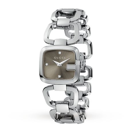 Gucci YA125503 G-Gucci Small Ladies Diamond set Watch | Luxury Watches | Watches | Goldsmiths