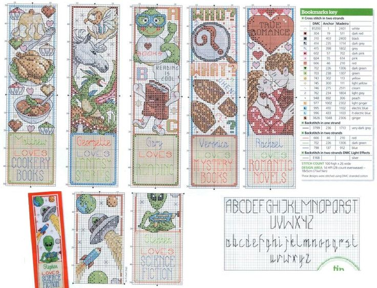 бесплатные схемы для вышивки крестом, закладки для книг, сердце, лягушка, нло, иноплатенен, торг, единорог, курица
