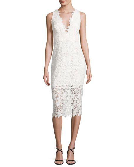 JILL JILL STUART SLEEVELESS V-NECK LACE SHEATH DRESS, OFF WHITE. #jilljillstuart #cloth #