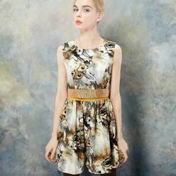 Rochita eleganta fashion, lipsita de maneci si talie accentuata, in culorile toamnei (KMA0069)