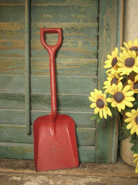 Charming Old Vintage Child's Metal Toy Shovel w. Red Paint ...