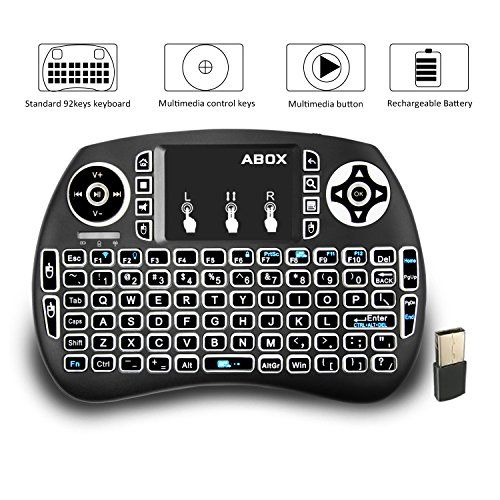 Backlit Mini Keyboard, GooBang Doo 2.4GHz Multi-media Portable Wireless Handheld Mini I9 Keyboard with Touchpad Mouse for XBox 360, PC, PAD, PS3  2.4GHz Mini Wireless QWERTY Backlit keyboard, Touchpad combo, with USB interface adapter  92 keys, 2.4GHz wireless Keyboard with Touchpad  Built-in high sensitive smart touchpad with 360-degree flip design  Innovative shape, portable, elegant, Perfect for PC, Pad, Xbox360, PS3 etc  Package Includes: 1x Wireless keyboard, 1x Wireless receiver,...