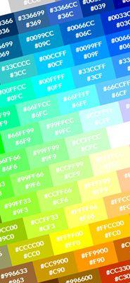 Amostras de cores websafe em código hexadecimal