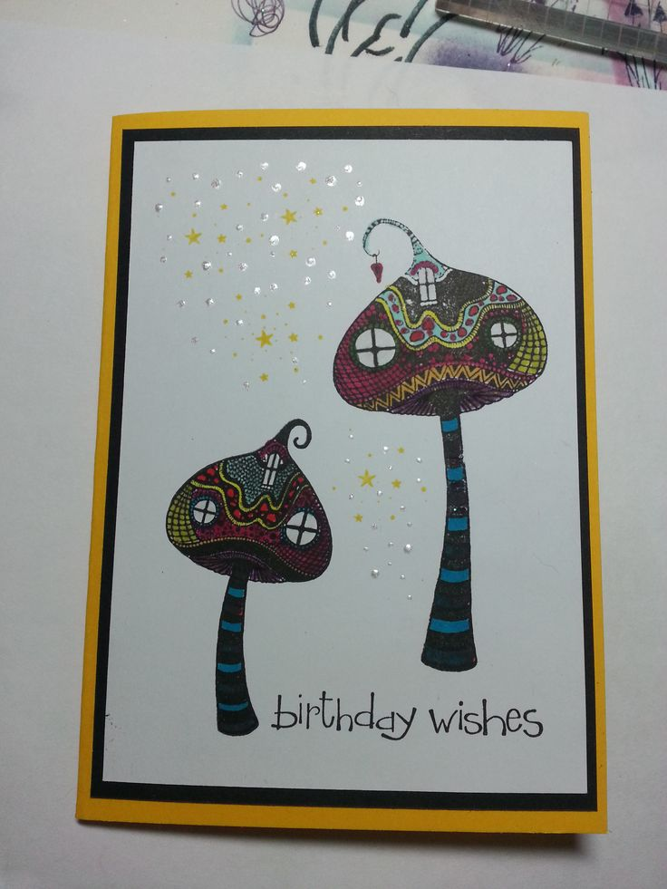 Zen toadstools. A simple yet effective card with a little bit of sparkle. Check out my blog amethystarcrafting.blogspot.com for more details.
