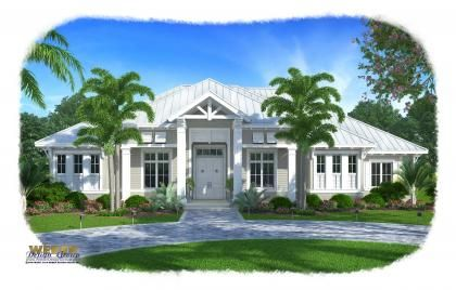 Love the elevation AND the floor plan! Olde Florida House Plan