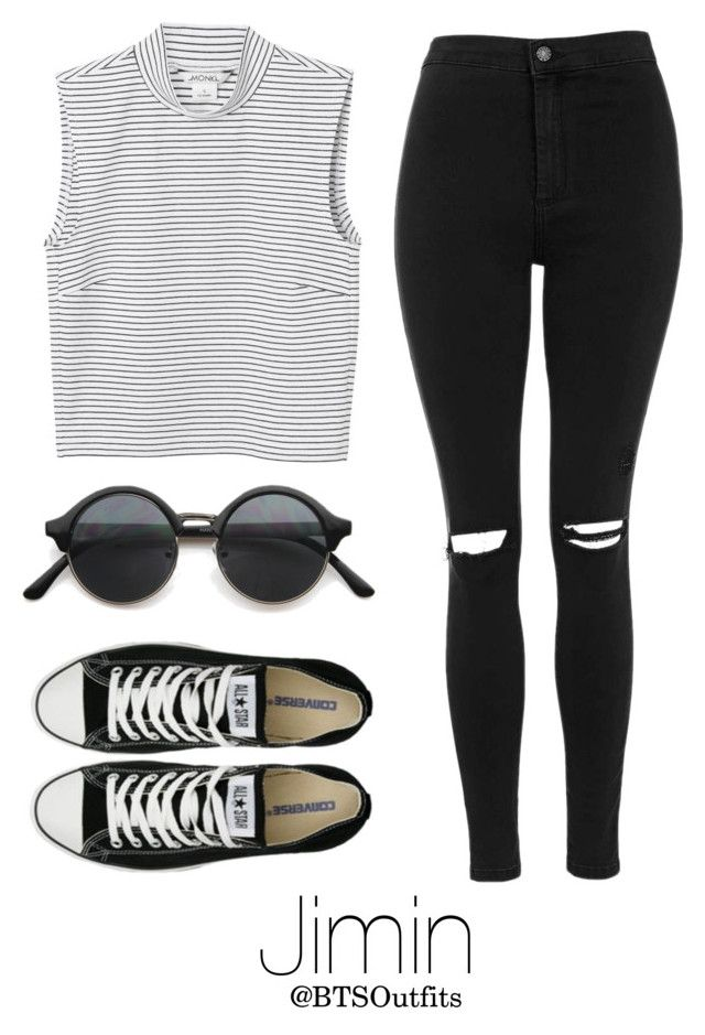 """""""BTS NOW 3 Inspired: Jimin"""" by btsoutfits ❤ liked on Polyvore featuring Topshop, Converse and Monki"""