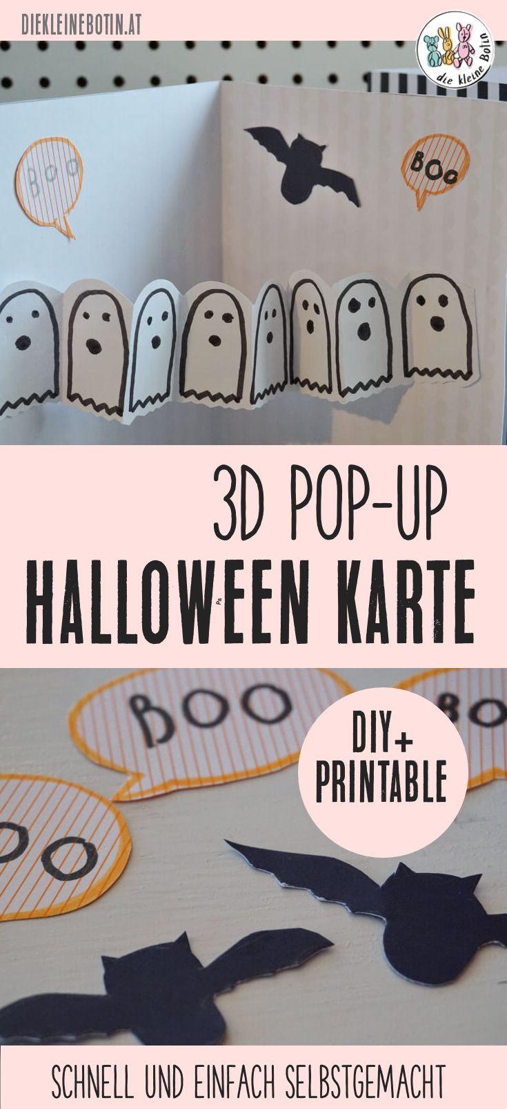 BOO! Diese 3D-POP-Up Karte für Halloweenfans ist schnell gemacht! Bastelidee für Kinder ab 3 Jahren. Halloween Karte mit Gespenstergirlande.  DIY mit free printable, Vorlagen zum Ausdrucken und Nachzeichnen. Anleitung für die Karten aus Papier.  #diy #papier #halloween #popupcard #popupkarte