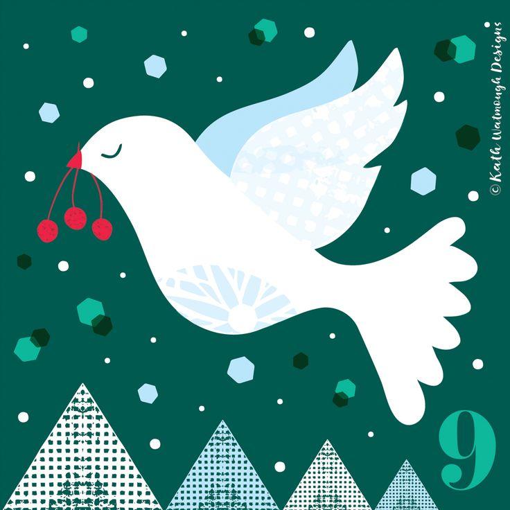 Day 9.  #makeitindesign #birdofpeace #dove #advent #adventcalendar #adventchallenge2017 #adventcalendar2017 #adventcalendarart #christmascalendar #christmascountdown #illustration #freelance #freelancedesigner #christmas2017 #christmas #kathwatmoughdesigns www.instagram.com/kathwatmough