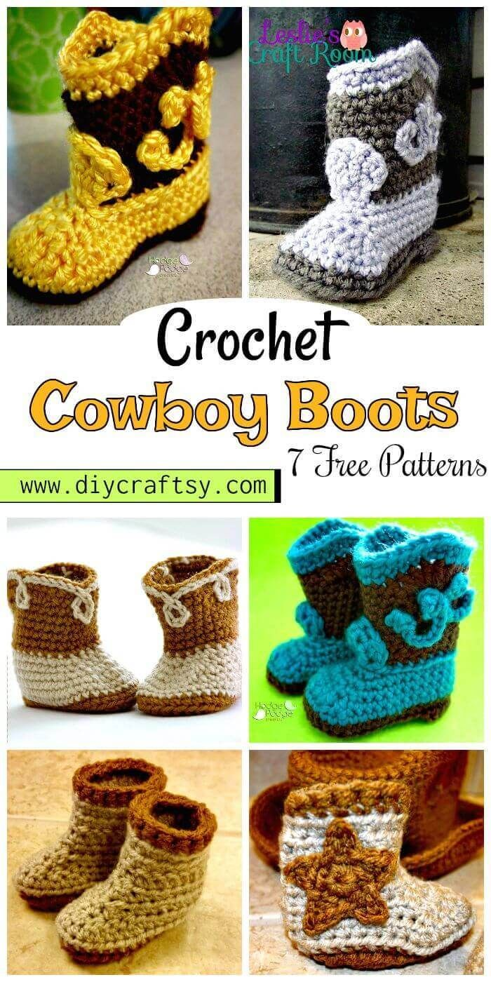 7 Free Crochet Cowboy Boots Patterns Diy Crafts Haken