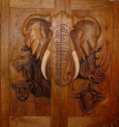 Carved Elephant Wood Door