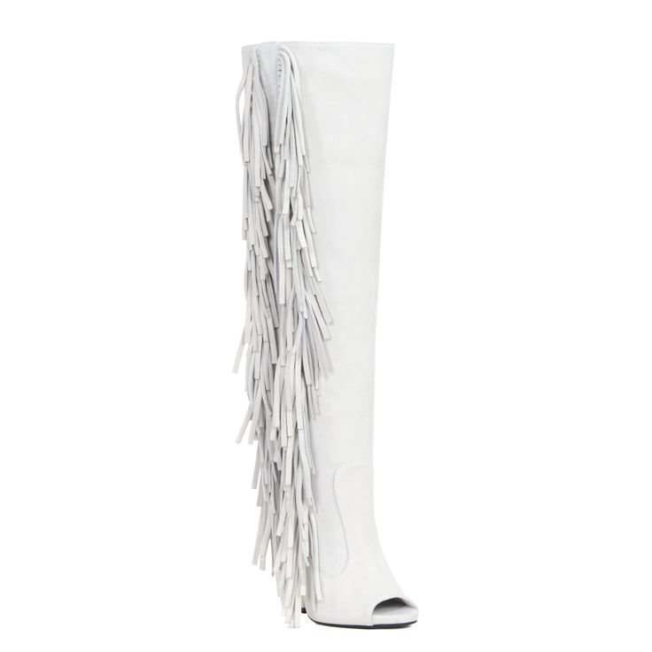 Amp up your look with these bold and high-fashion Giuseppe Zanotti White Boot. These Giuseppe Zanotti Boot feature a 5 inch heel and open toe and fringes. Material: Suede Shoe Width: Medium Size: 7, 9 #giuseppezanottiheelswhite