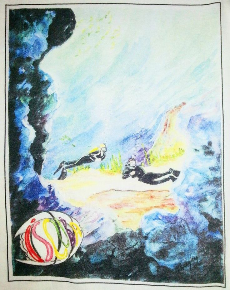 Scuba Dive T Shirt XL Snorkel Surf Sea Ocean Underwater Fish Scuba Divers