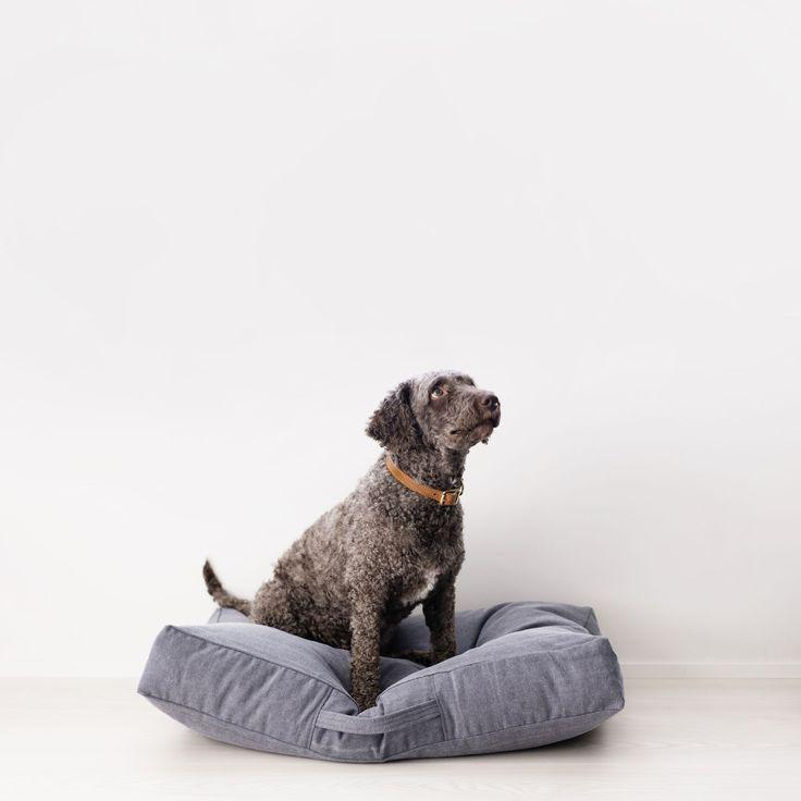 Höyhensaari dog cushion in indigo from www.kindfordogs.fi