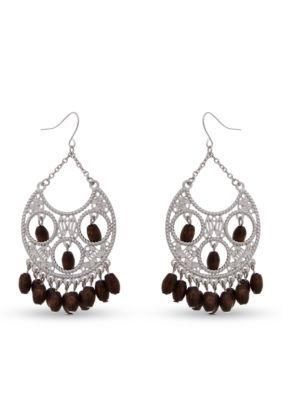 Erica Lyons Women Silver-Tone Put It In Neutral Chandelier Earrings - Brown Nrf - One Size