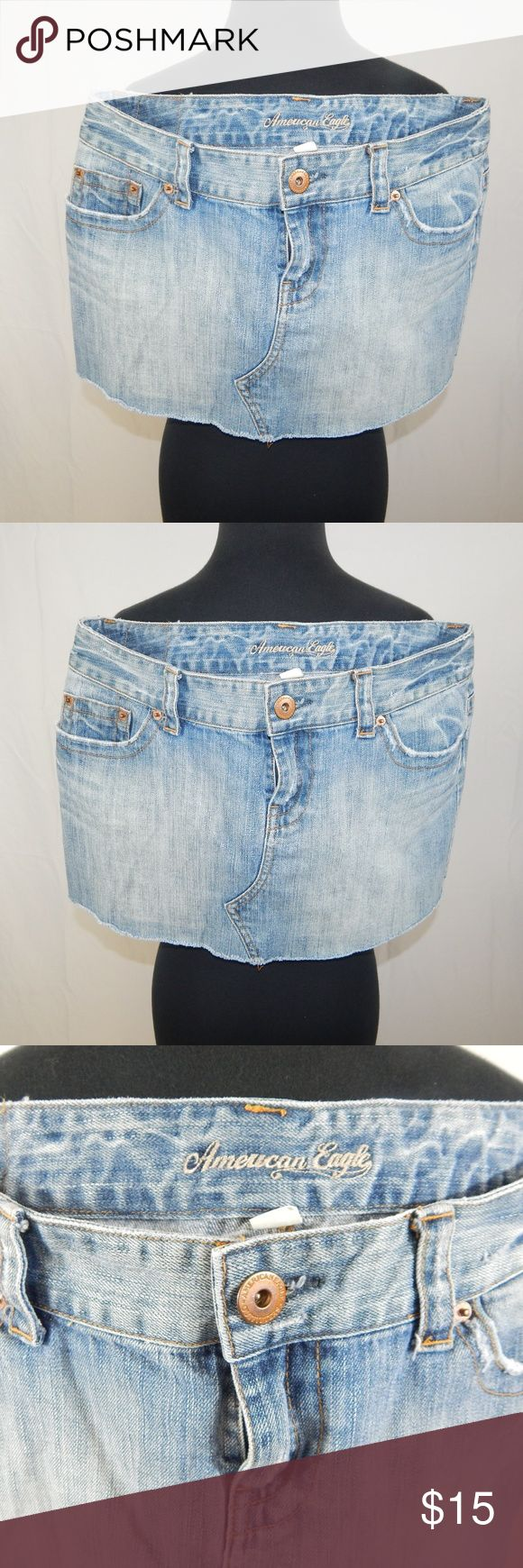 American Eagle Outfitters Denim Mini Skirt size 10 American Eagle Outfitters Jean Mini Skirt size 10 All Items are inspected and pictured before shipment in order to ensure top quality!! Bundle and Save!! Happy Poshing!!!  Brought to you by: Ari's Chic Dowri ;) American Eagle Outfitters Skirts Mini