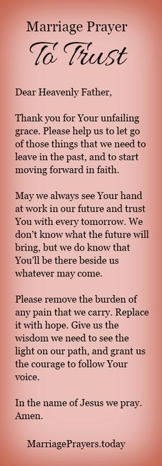 A marriage prayer to trust God with your future.