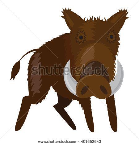 vector illustration of boar - wild pig forest animal. - stock vector