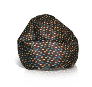 American Furniture Alliance Fun Factory Classic Bean Bag, Medium, Brown with Turquoise Dots