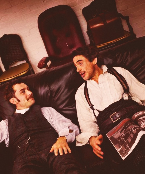 "Robert Downey Jr Jude Law Slash Jude law and robert downey jr. hanging out between scenes, ""sherlock holmes"