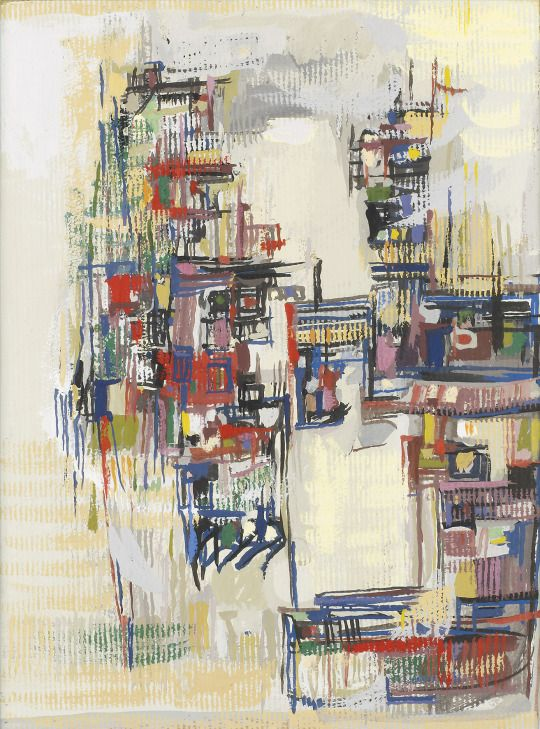 Maria Helena Vieira da Silva (Portuguese, 1908-1992), Untitled, 1957. Gouache on paper, 35 x 24.5 cm.