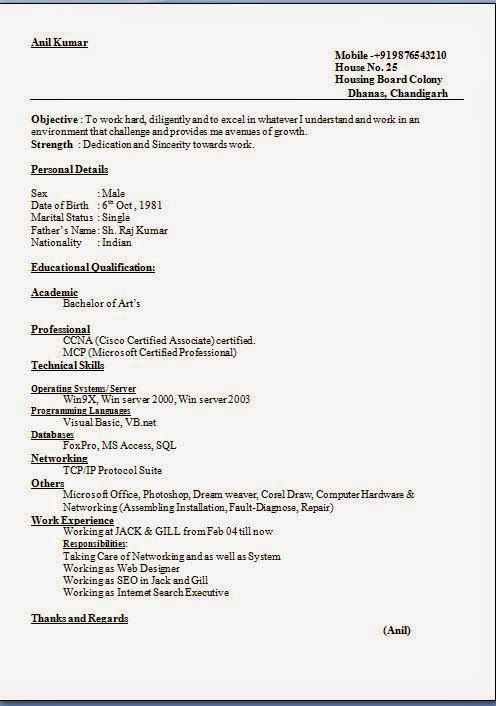 computer hardware and networking resume format resume format for