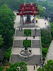View of a bell from the top of Yellow Crane Tower, Wuhan, China