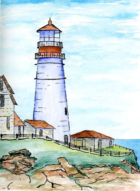 Original Pen Ink and Watercolor Portland by VintageVantageShop, $8.50