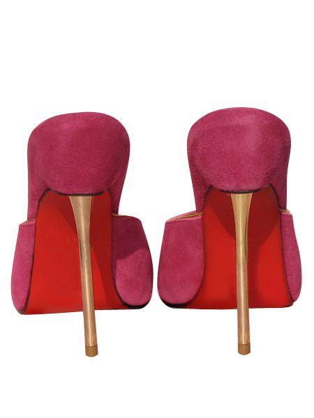 Blake Lively Tacchi piattaforma della punta d'oro rosa camoscio peep metallo dorato 140 mm sandali tacchi rossi fondo senza schienale a spillo