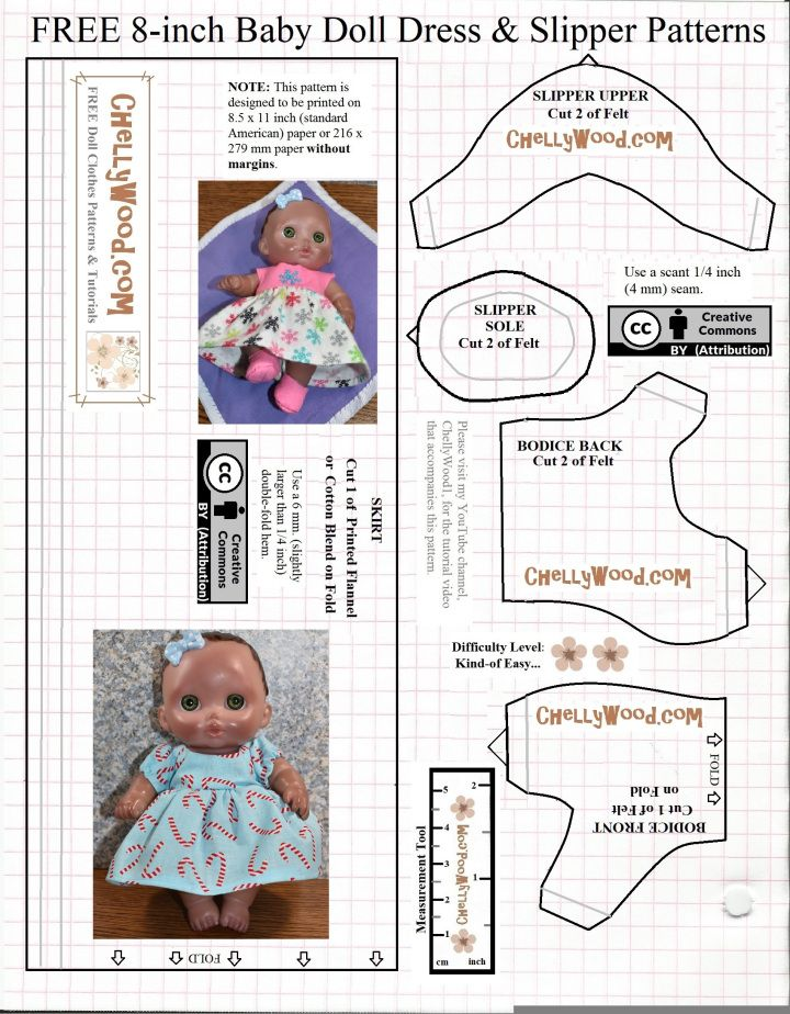 Please Visit Chellywood Com For Free Printable Sewing Patterns For Dolls Of Many Shapes Baby Doll Clothes Patterns Doll Clothes Patterns Free Baby Doll Clothes