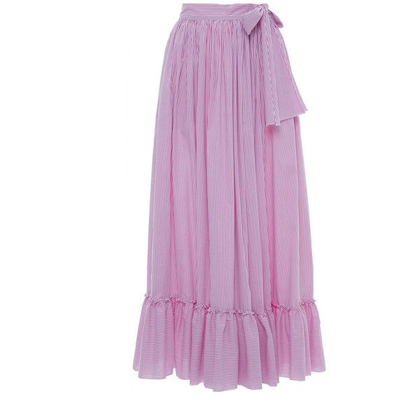 Blugirl     High Waisted Stripe Ruffle Maxi Skirt (26.785 RUB) found on Polyvore featuring women's fashion, skirts, stripe, long pleated maxi skirt, pleated skirt, purple maxi skirt, high-waist skirt and long maxi skirts